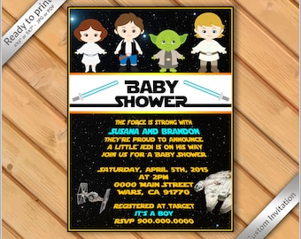 50% OFF SALE -Baby Shower Star Wars Invitation - Star Wars Party Baby Shower Invite - Party invitation Star Wars characters