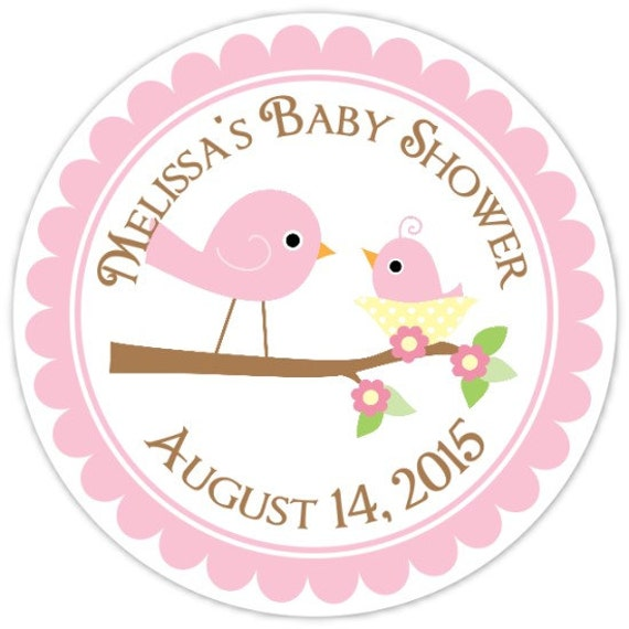 Baby birds baby shower labels mommy and baby bird custom baby