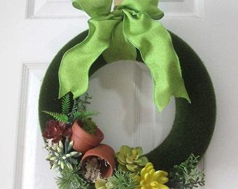 Green Moss succulent Wreath, wreath, Spring Wreath, Wall decor, garden decoration, beach house decor