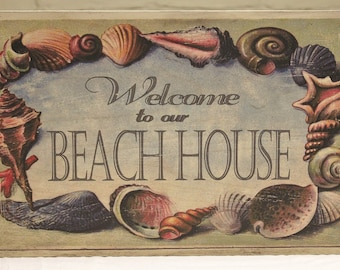 """Wood """"Welcome to our Beach House"""" Welcome Sign - Shabby Chic Beach Decor"""