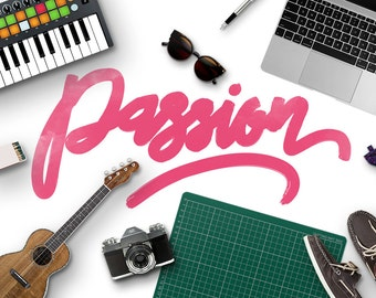 Passion Typeface Brush Watercolour Font Download Hand Lettered