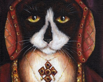 Catherine Aragon Cat, Black and White Cat in Tudor Dress, King Henry VIII