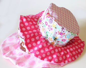 Wide brim baby sun hat, cute cotton sun protection hat for baby girls