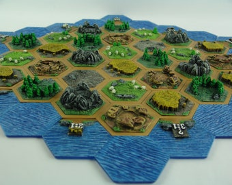 MADE to ORDER:  3D Settlers of Catan Tiles, handmade by Leifkicker studio. Four Basic Options Available