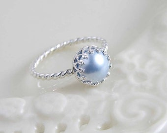 June Birthday ~ Pearl Ring ~ Alice Blue ~ Sterling Silver Crown Bezel with Twisted Ring ~ Gift for Her ~ Simple Modern Jewelry by PetitBlue