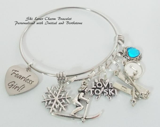 Skier Charm Bracelet, Gift for Skier, Custom Gift for Women, Personalized Birthstone Charm Bracelet, Initial Jewelry, Gifts for Her
