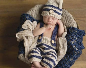striped overalls and hat 2pc set   blue and beige