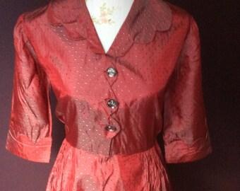 Late 1940/50's Red Taffeta Dress