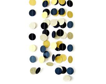 Black & Gold glitter circle garland  - gold glitter garland, gold shimmer garland, glitter circle garland