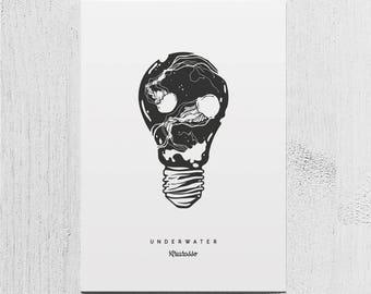 Poster Art Print - Underwater - Lightbulb Sea Ocean Jellyfish