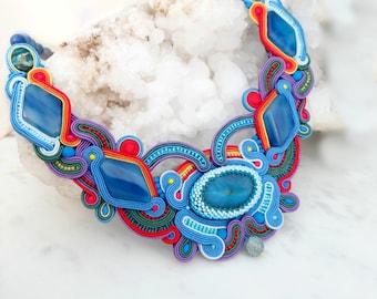 Blue soutache necklace, Boho necklace, Large statement necklace, Bib necklace, Agate necklace, Crystal gemstone necklace, Soutache jewelry