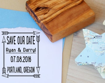 Custom Tribal Arrows Save the Date Olive Wood  Stamp