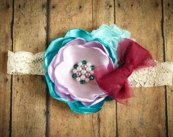 Aqua Lavender and Berry Satin Flower Headband