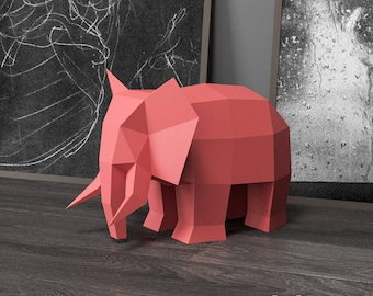 Elephant Papercraft, Paper Craft, Elephant Decor, 3D Origami, Low Poly Sculpture, DIY Gift, Paper Animal, Baby Shower Elephant, Home Decor