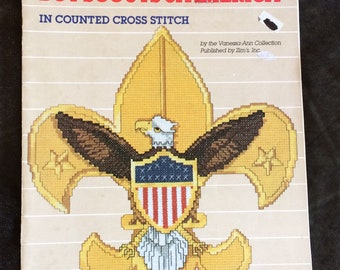 Emblems of the Boy Scouts of America, Counted Cross Stitch, Cub Scout, Eagle Scout, 27 Page Vintage Book, Cross Stitch Designs, OFG