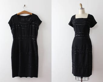 CLEARANCE vintage 1950s dress // 50s 60s little black dress with sequins