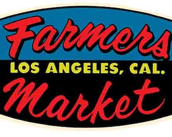 Vintage Style Los Angeles Farmers Market California  Travel Decal sticker