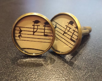 Music Cuff Links,  Vintage Music Accessory, Jewelry Accessory Groomsmen, Music Teacher Unique Gift
