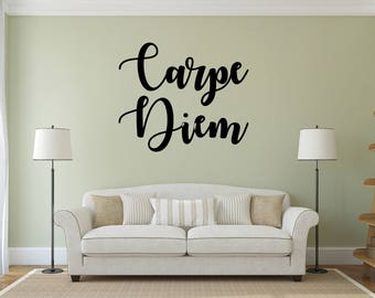 Carpe Diem Vinyl wall decal sticker, Vinyl Wall Art, Home & Living Decor, Carpe Diem Art, Vinyl Wall Sticker, Living Room Decor wall quote