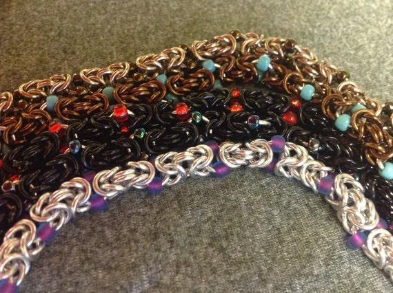 Byzantine-with-beads bracelet