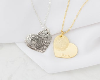 Fingerprint Jewelry • Heart Charm Fingerprint Necklace • Custom Fingerprint  Necklace • Personalized Gift • MOTHER'S GIFT • NM32