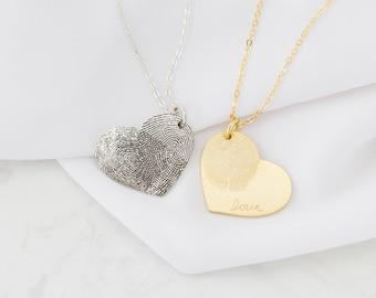 Fingerprint Jewelry • Heart Charm Fingerprint Necklace • Custom Fingerprint  Necklace • Personalized Gift • MOTHER'S GIFT • NM32