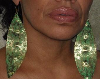 Patina earrings Afrocetric Brass Jade Earrings   Studded Earrings