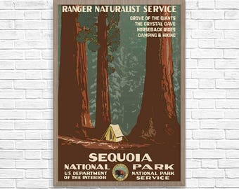 REDWOODS National Park Poster, Vintage Sequoia Travel Poster, Vintage California Travel Poster, Travel Print, Wall Art