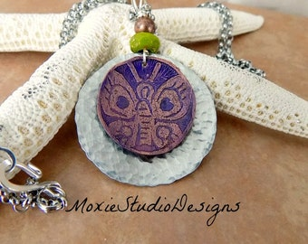 Mixed Metal Purple Butterfly Necklace, Summer Necklace, boho necklace, Mixed Metal Jewelry, Copper Necklace, Stainless Steel Necklace