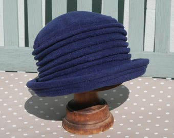 Navy blue fleece home grown cloche hat