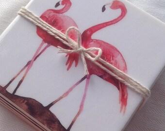 Ceramic Tile Coasters - Flamingo Retro Style 006