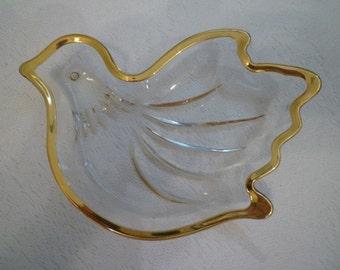 CRYSTAL DOVE DISH. Elegant Dove Design Dish.  Wedding Decor. Wedding Gift. Candy Dish. Christmas.