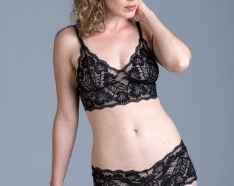 Adjustable Back 'Freesia' Bra - Black See Through Sheer Lace Bralette - Custom Fit Women's Lingerie