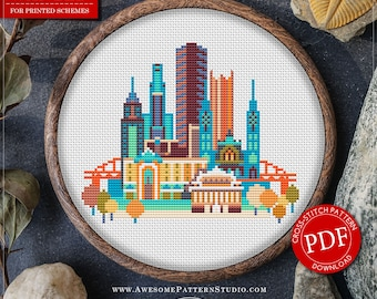 Pittsburgh Cross Stitch Pattern for Instant Download *P091 | Easy Cross Stitch| Counted Cross Stitch|Embroidery Design| City Cross Stitch