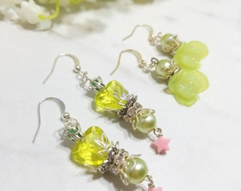 Sailor Moon inspired and Floral earring set of two (Sailor Jupiter)