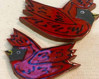 Cardinals Handmade Ceramic Mosaic Tile Pack