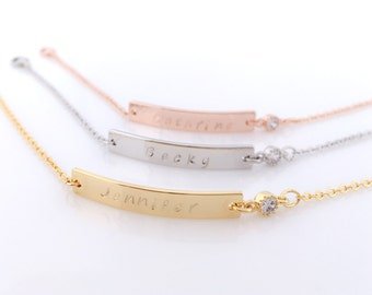 SALE • Personalized Bar Bracelet with Sparkling Zirconia / Choice of Name-Date-Favorite Word / For Bridesmaid, Birthday, Sisters & All