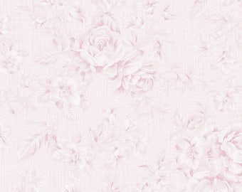 Shabby Pink Floral Fabric, Roses Quilt Fabric, Clothworks Fabric, Emma's Garden, Y1918-41 Light Pink, Shabby Floral Quilt Fabric, Cotton