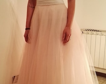 Peach color skirt, wedding skirt-wedding, multi-layered pastel tulle skirt