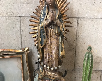 Vintage Guadalupe virgin. Guadalupe virgin. Vintage virgin. Folk art. Mexican folk art. Mexican virgin. Religious art. Virgin Mary. Mexican