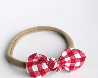 Red Checkered Nylon Headband