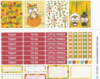 Thanksgiving Planner Stickers   Owl Planner Stickers   Fits Erin Condren Life Planner   Fits Happy Planner   Weekly Sticker Kit   ML035