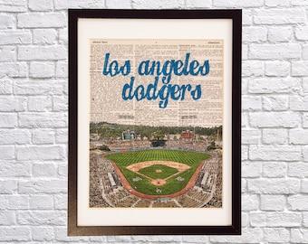 Los Angeles Dodgers Dictionary Art Print - Chavez Ravine, Dodger Stadium - Print on Vintage Dictionary Paper - Baseball Art - Gift For Him
