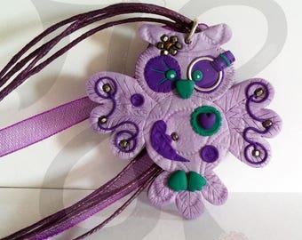 OWL pendant steampunk in purple