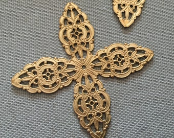 1 Brass Four Point Filigree Finding Flexible & Good for Setting that Odd Stone 66mm