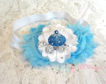 Birthday headband- Princess Blue Carriage Headband, Princess headband,Princess Carriage headband,Girls headband,Birthday gifts, Cinderella