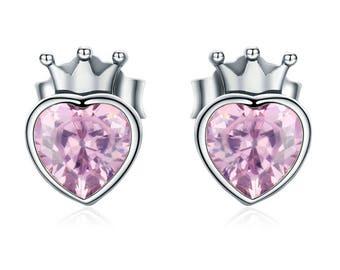 Crowned Heart Stud Earrings - Sterling Silver & Pink Cubic Zirconia, Silver Crown,Regal,Royal,Queen,Princess, Love, Valentine, Crystal Heart