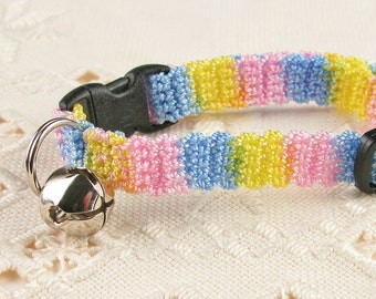 Crochet Cat Collar Soft Colorful Stripe