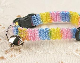Crochet Cat Collar Soft Colorful Stripe
