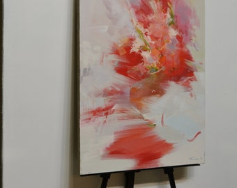 Abstract painting, White red canvas art, flower painting oil canvas art, still life painting flower art, floral painting on canvas wall art